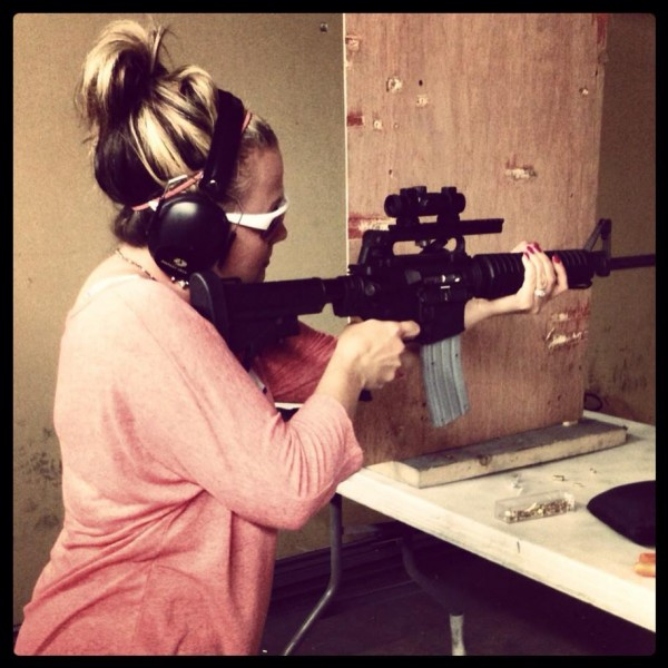 Ashley firing the AR15